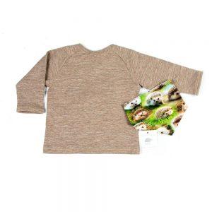 shirt v-hals met opdruk egel motief