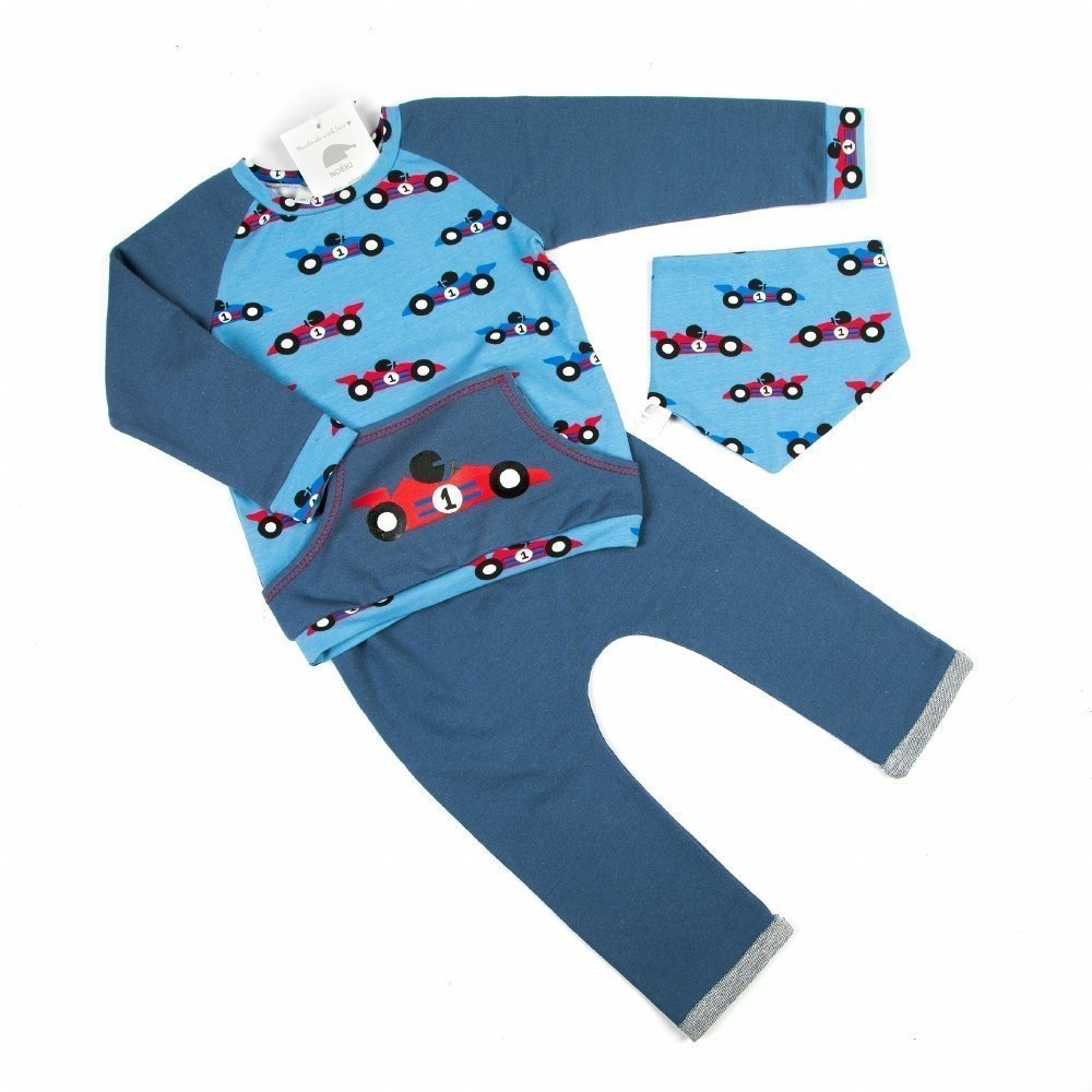 017367a5f Race outfit  with sweater (handmade) with racing car print for the ...