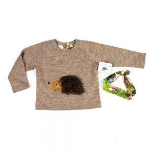 shirt-ronde-hals-opdruk-egel-motief