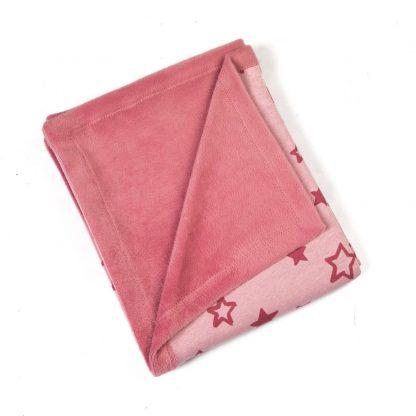 fleece-blanket-pink-star motif