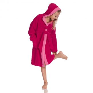 hip children's bathrobe-hood-cranberry colors.