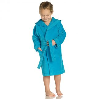 meisje-jongen-kleurrijke-kinderbadjas-kap-turquoise
