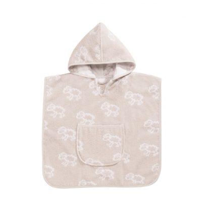Baby badcape met schaapjes motief in beige