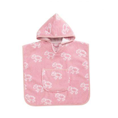 Baby badcape met schaapjes motief in roze