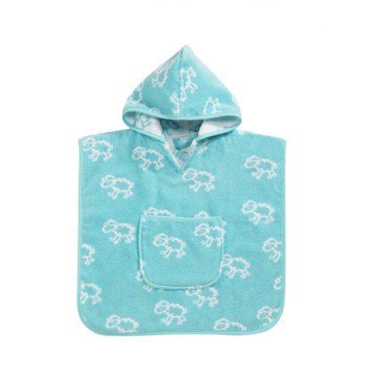 Baby badcape met schaapjes motief in turquoise
