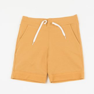 bermuda-ocher yellow-slanted-side pockets-waist-adjustable-drawstring