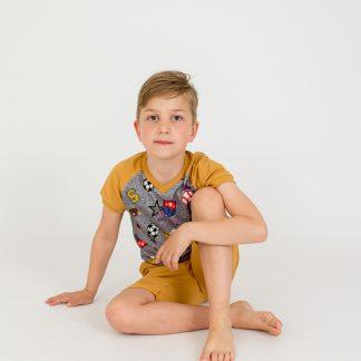 boy-t-shirt-gray-short-sleeve-ocher-sport motif-bermuda