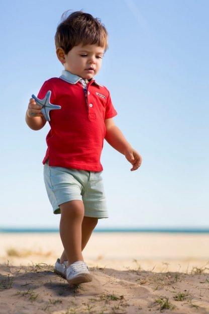 baby-jongen-polo-rood-lichtgroene-short